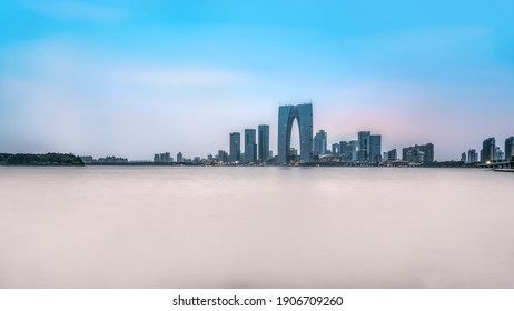 Panoramic aerial view of Suzhou city architecture landscape skyl