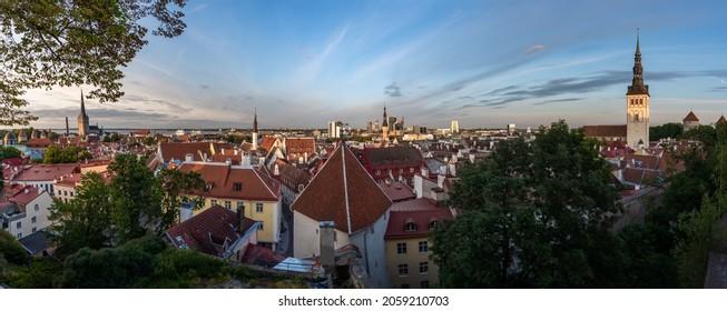 Panoramic aerial view of Tallinn Old Town with St Olafs Church, Holy Spirit Church and St Nicholas Church - Tallinn, Estonia