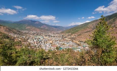 panoramic aerial view of Thimphu city in Bhutan