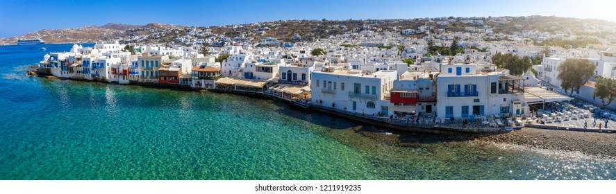 Panoramic, aerial view to the town of Mykonos island with the little Venice district next to the turquoise sea, Cyclades, Greece