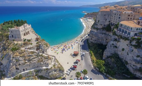 Panoramic aerial view of Tropea coastline and beaches in summer, Calabria - Italy.