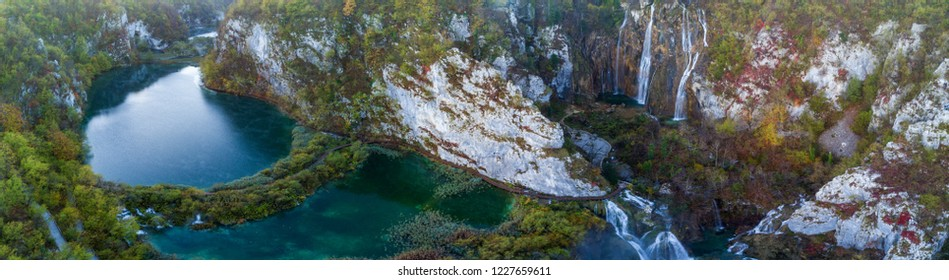 Panoramic aerial view of turquoise water and waterfall in the Plitvice Lakes National Park. Croatia. Europe.