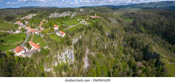 Panoramic aerial view of Unesco world heritage site Skocjanske jame (Skocjan caves) with village Skocjan, Slovenia
