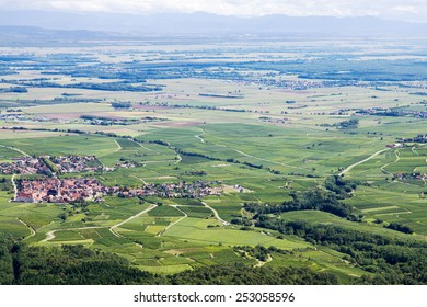 Panoramic aerial view the Upper Rhine plain in Alsace, France. View of the plain from the mountain on which the Haut-Koenigsbourg castle is located - Shutterstock ID 253058596