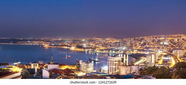 Panoramic aerial view of Valparaiso from Cerro Alegre Hill at night - Valparaiso, Chile