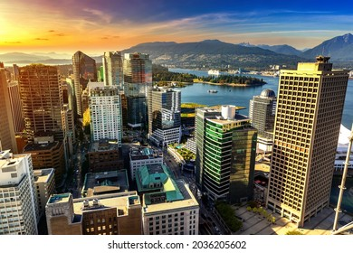 Panoramic aerial view of  Vancouver business district at sunset, Canada