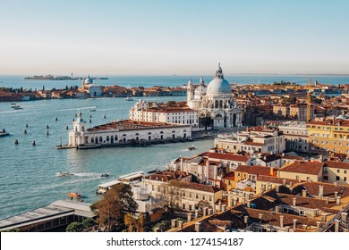 Panoramic aerial view of Venice from San Marco Campanile. Grand canal, Basilica Santa Maria della Salute. Italy
