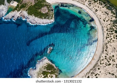 Panoramic aerial view of voidokilia beach, one of the best beaches in mediterranean Europe, beautiful lagoon of Voidokilia from a high point of view, Messinia, Greece