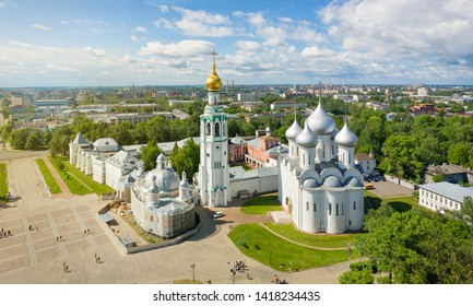 Panoramic aerial view of Vologda Kremlin in Vologda, Russia
