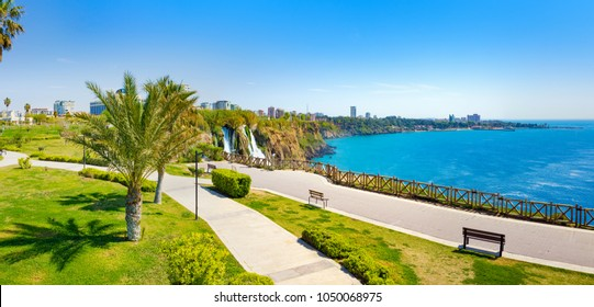 Panoramic aerial view of water cascading from platform into Mediterranean sea in Antalya. Lower Duden Waterfall in popular seaside resort city Antalya, Turkey.