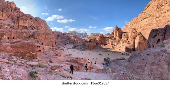 Panoramic aerial view from the way to High Sacrifice over Petra, one of the new Seven Wonders of the world Jordan