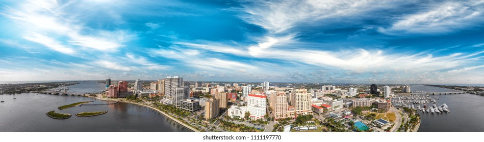 Panoramic aerial view of West Palm Beach skyline at sunset, Florida - USA.