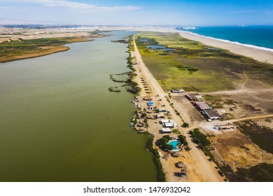 "Panoramic aerial view of a wetland sited at north of Lima, Peru. Called: ""Albufera de Medio Mundo"" near to Huacho city."