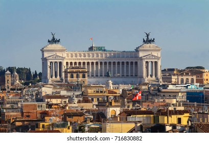 Panoramic aerial wonderful view of Rome with Altar of the Fatherland , Rome, Italy