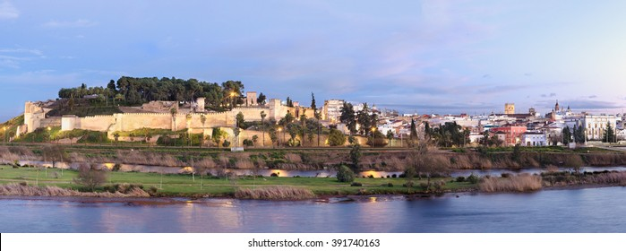 Panoramic Ancient arabic fortress, Badajoz, Extremadura, Spain