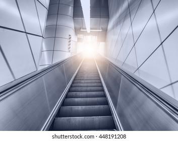 A panoramic angle of escalator / Escalator