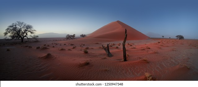 Panoramic, atmospheric, tranquil  Namib desert landscape with famous red dune No.40 before sunrise. Picturesque misty desert landscape, Namib Naukluft National Park, Sessriem, Namibia.