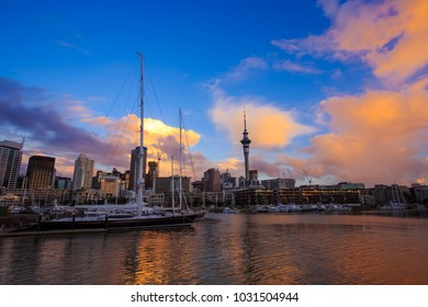 Panoramic  of Auckland city central business district waterfront with the Sky Tower in the twilight sky scene background