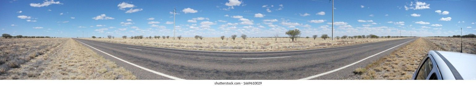 Panoramic of Australian Outback Road.