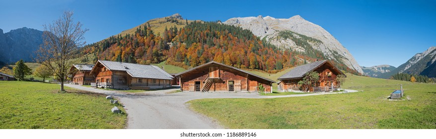 panoramic autumn landscape tirol, wooden huts eng alp in idyllic karwendel hiking area. big size panorama