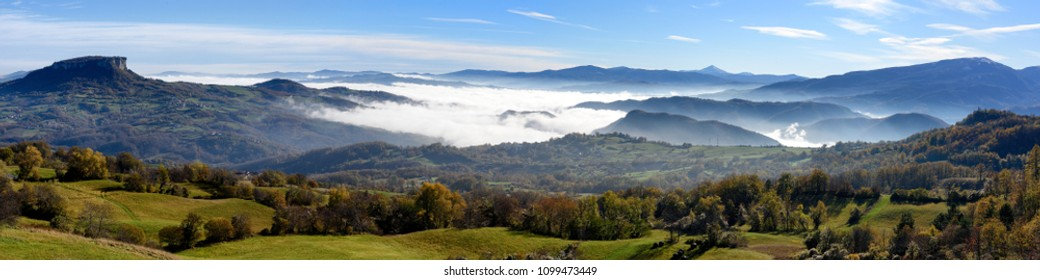 Panoramic autumn with mist trails