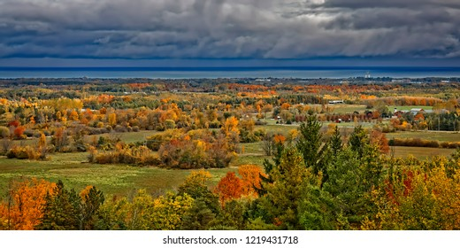 A panoramic Autumn view, looking out over the southern end of Georgian Bay, near Collingwood, Ontario.