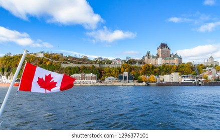 Panoramic autumn view of Old Quebec City waterfront and Upper Town from Saint-Lawrence River in Quebec, Canada