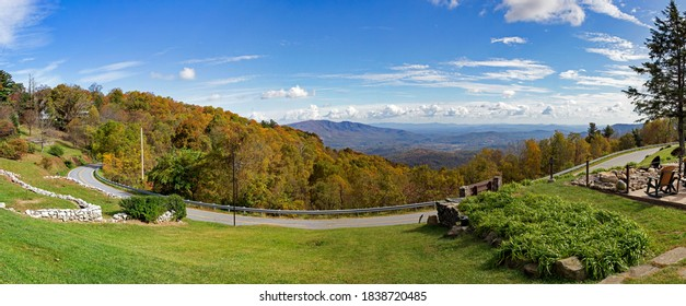 Panoramic Autumn view of the southern Appalachian Mountains from Little Switzerland  North Carolina off the Blue Ridge Parkway.