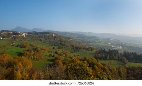 Panoramic autumnal view of Breonio village in Valpolicella (Verona)