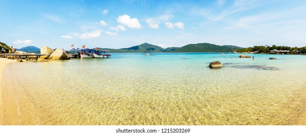 Panoramic background of Whale Island, also known as Hon Ong Island, it is one of the unspoiled and wonderful tourist attractions in Nha Trang alluring both domestic and international touris.