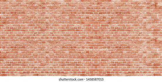 Panoramic background of wide old red brick wall texture. Home or office design backdrop - Shutterstock ID 1458587015