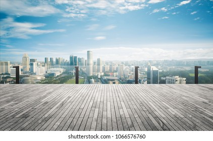 Panoramic balcony skyline and buildings view with empty brick floor.