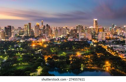 panoramic bangkok skyline twilight