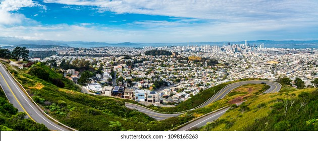 Panoramic Bay Area landscape San Francisco , California , USA landmark famous overlook of entire downtown skyline cityscape of amazing city view from Twin Peaks , Christmas tree point look out
