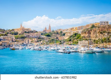 Panoramic Bay View of Mgarr, Town and Harbour where Ferries Dock at the East End of Island Gozo, Malta