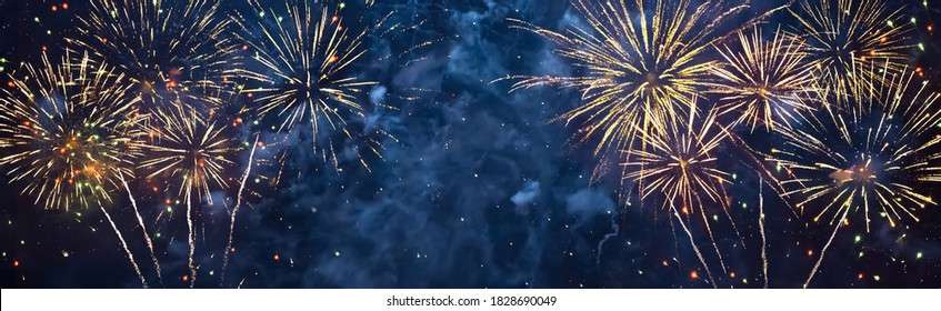 Panoramic Beautiful Holiday background Happy of fireworks. Concept of happiness and joy. Wide Angle blue billboard or Web banner With Copy Space for design. Universal Wallpaper for celebration