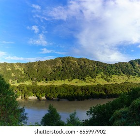 Panoramic beautiful scenery of mountain and river along the way on Whanganui river road in National Park in Autumn , Whanganui , North Island of New Zealand
