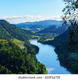 Panoramic beautiful scenery of Whanganui river road in National Park in Autumn , Whanganui , North Island of New Zealand