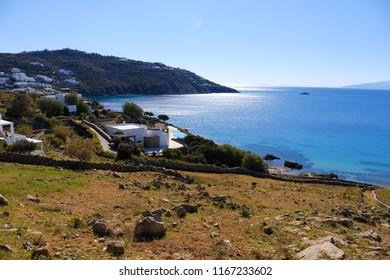Panoramic Beautiful sea view town of Mykonos famous Island of Greece