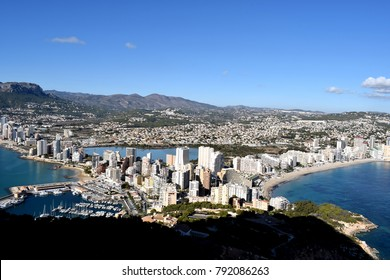 Panoramic beautiful view on the mountains and town Calpe on  the coast of Mediterranean Sea from Mount Ifach