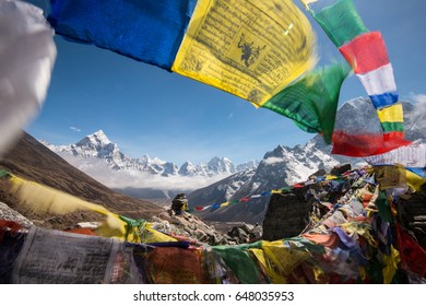 Panoramic beautiful view with beautiful sky on the way to mount Everest base camp, Khumbu valley, Sagarmatha national park, Everest area, Nepal