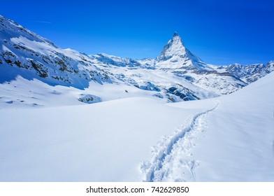 Panoramic beautiful view of snow mountain Matterhorn peak, Zermatt, Switzerland.