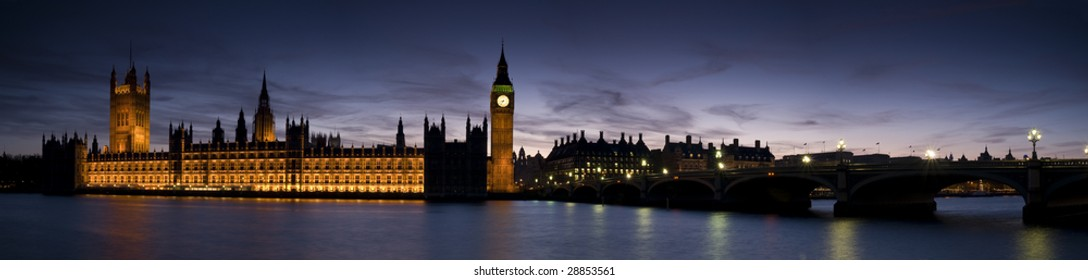 Panoramic of Big Ben and the Houses of Parliament at Twilight.