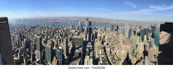 Panoramic Bird eye View of skyscrapers and downtown Manhattan, New York City, and New Jersey across the Hudson River, United States of America
