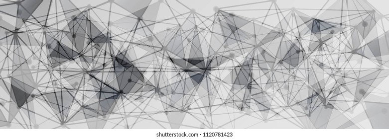 Panoramic Black and White Geometric Pattern with Triangles. A Three-Dimensional Futuristic Structure. Wicker Abstract Texture. Raster. 3D Illustration