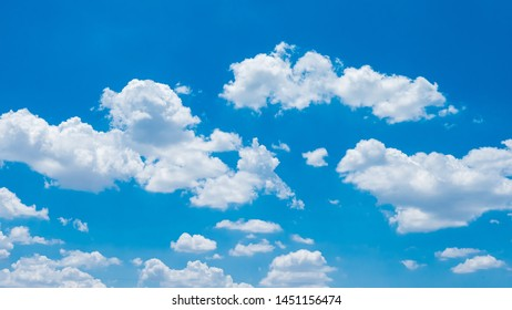 panoramic blue sky background with tiny clouds