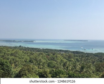 Panoramic blue watercolor beach landscape in Karimunjawa Island, Central Java Indonesia