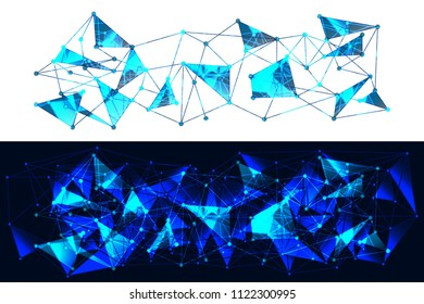 Panoramic Blue and White Geometric Pattern with Triangles. A Three-Dimensional Futuristic Structure. Wicker Abstract Texture. Raster. 3D Illustration