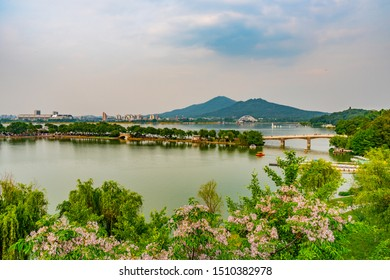 Panoramic Breathtaking High Angle View of Nanjing Xuanwu Lake Park During Afternoon Sunset