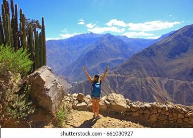 Panoramic breathtaking view of peruvian canyon Colca , Peru, South America